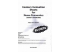Cookery Evaluation Sheets - For Home Economics Junior Certificate
