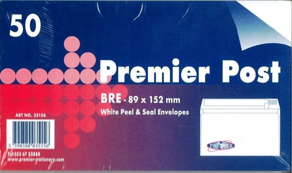 Bre Envelope White 50 Pack 89mmx152mm
