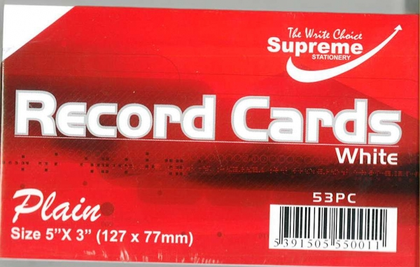 "Record Cards White Unruled 5""x3"""