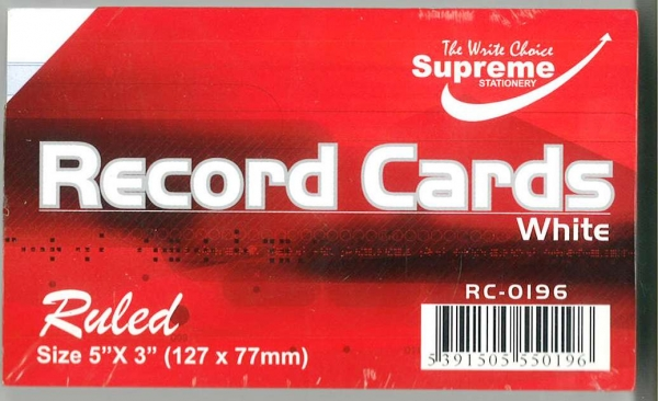 "Record Cards White Ruled 5""x3"""