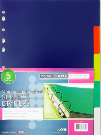 Dividers 5 Part Plastic