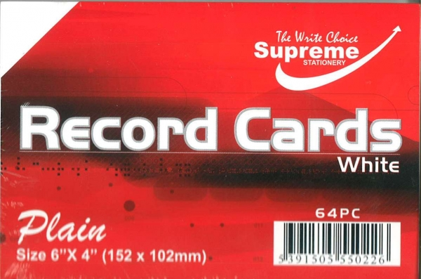 "Record Cards White Unruled 6""x4"""