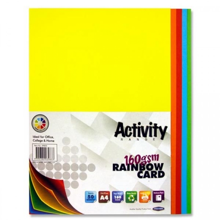 Rainbow Coloured Card A4 50 Pack 160gsm