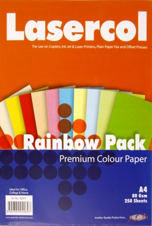 Mixed Colour Paper A4 250 Pack 80gsm
