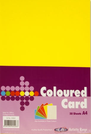 Yellow Card A4 50 Pack 160gsm