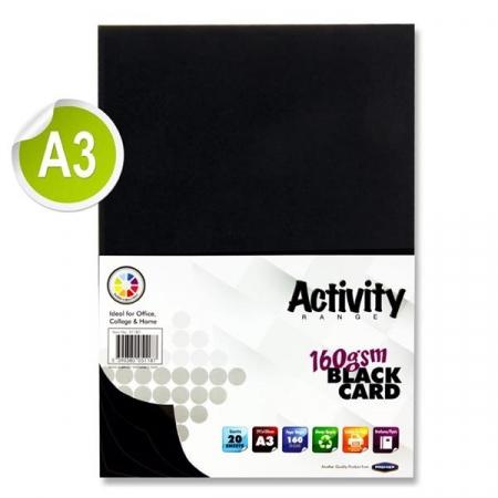 Black Card A3 Pack 20 - 160gsm