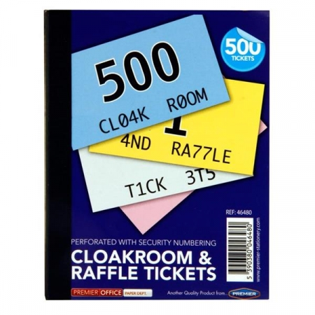 Cloakroom Tickets Assorted Colours 1-500
