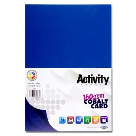 Dark Blue Card (Cobalt) A4 Pack 50 - 160gsm