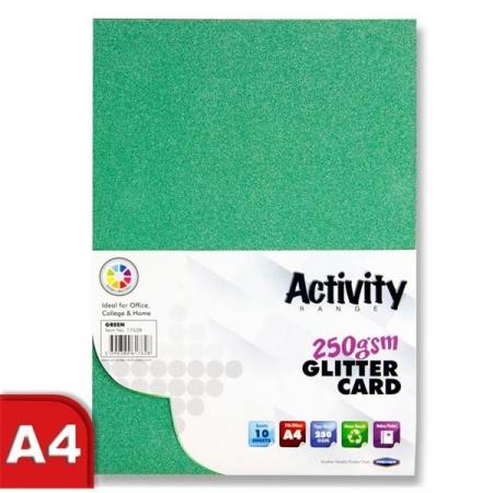Glitter Card Green A4 Pack 10 - 250gsm