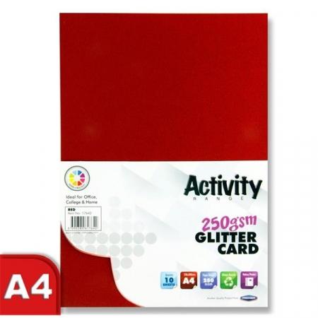Glitter Card Red A4 Pack 10 - 250gsm