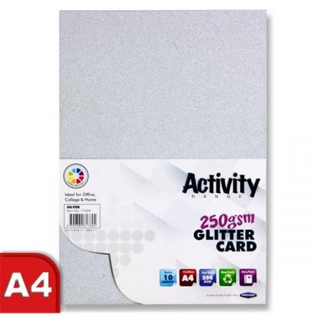 Glitter Card Silver A4 Pack 10 - 250gsm