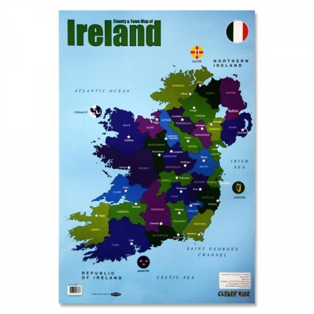 Poster County & Town Map Of Ireland