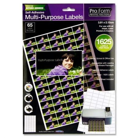 Computer Labels 65 Per Sheet 38.1mmx21.2mm - 1625 Per Pack