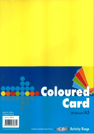 Mixed Coloured Card A3 50 Pack 160gsm
