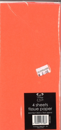 Tissue Paper 4 Sheets - Fluorescent Orange