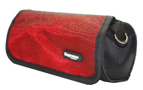 Pencil Case Rectangle Fold Over - 1 Zip - Red & Black