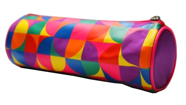 Pencil Case Cylindrical - 1 Zip - Circles
