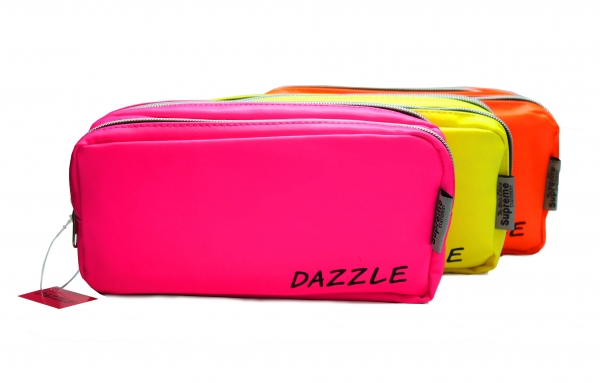 Pencil Case Double Pocket Rectangle - 2 Zip - Dazzle - Assorted Colours