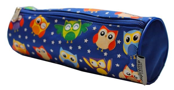 Pencil Case Cylindrical - 1 Zip - Owls