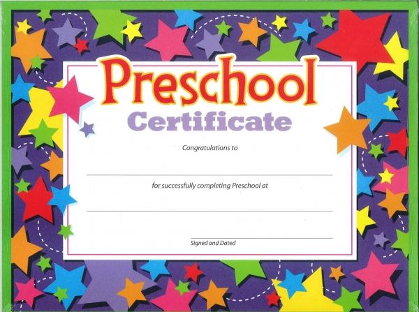 Preschool Certificate 30's