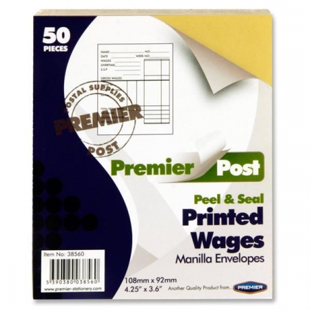 Wage Envelope Brown Printed 50 Pack 108mmx92mm