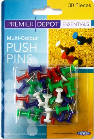 Push Pins Assorted Colours - 30's