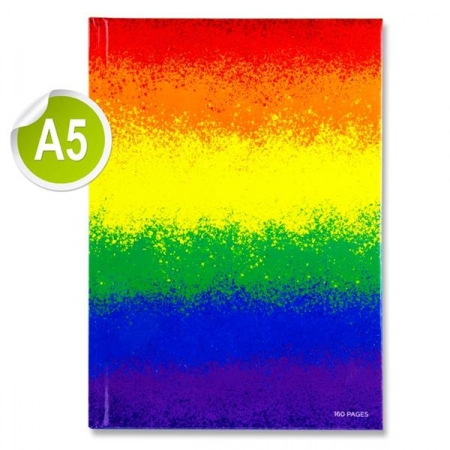 Hardback Copy A5 160 Page - Feint Ruled - Rainbow