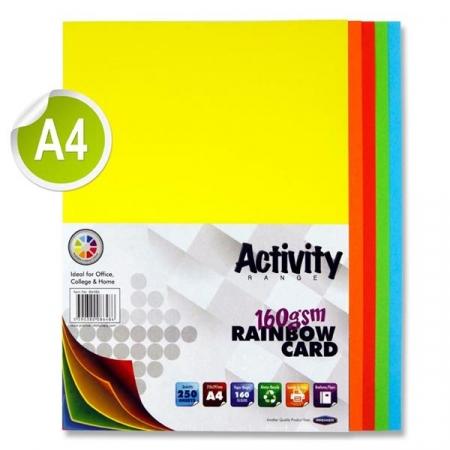 Rainbow Card A4 250 Pack - 160gsm