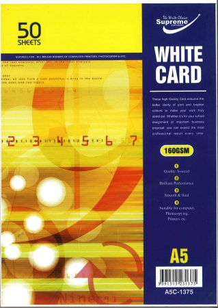 White Card A5 50 Pack 160gsm