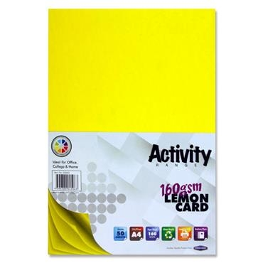 Yellow Card (Lemon) A4 50 Pack 160gsm