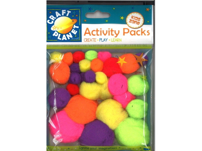 Pom pom assorted pastel colours 30 pack
