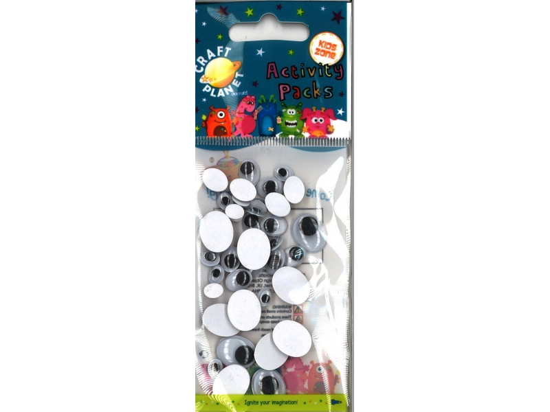 Oval Black & White Wiggle Eyes Pack 36