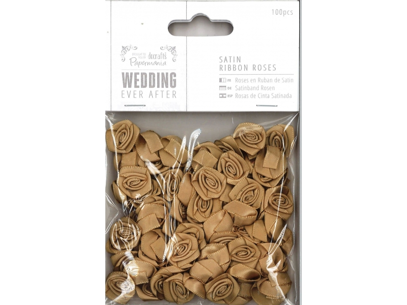 Papermania - Satin Ribbon Roses Gold 100pcs