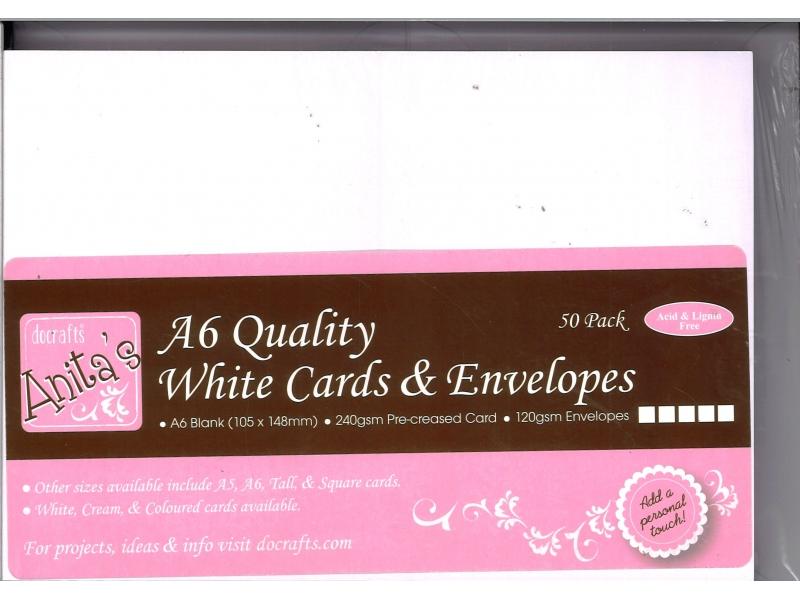 Anita's A6 White Cards & Envelopes White 50pk