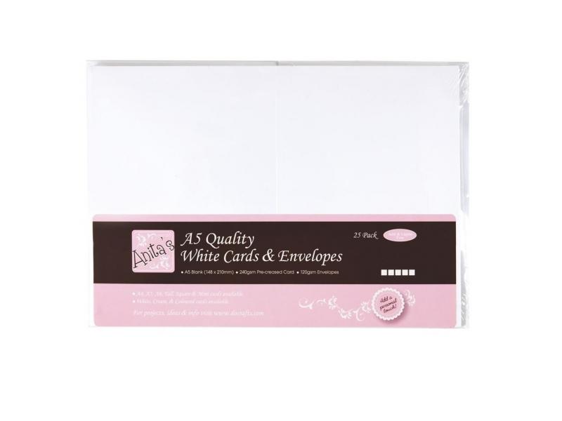 Anita's - A5 Cards & Envelopes White 25pk