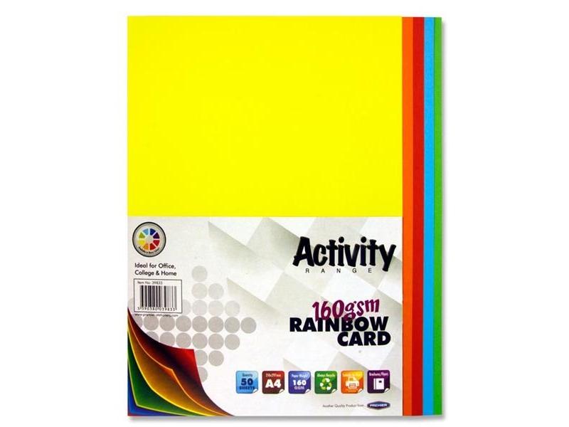 Rainbow Coloured Card A4 50 Pack 160gsm