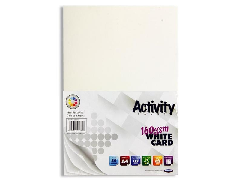 White Card A4 50 Pack 160gsm