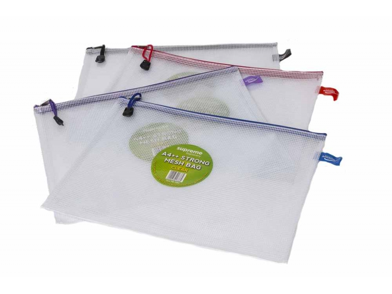 Mesh Bag Clear A4++ - Extra Strong - Assorted Colours