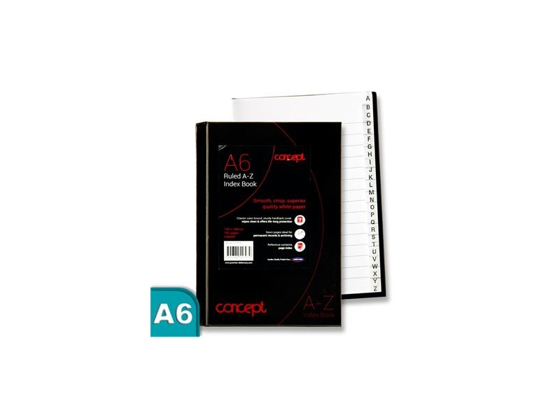 Concept Ruled A-Z Index Book A6 192 Page
