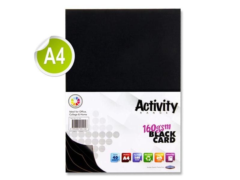 Black Card A4 40 Pack 160gsm