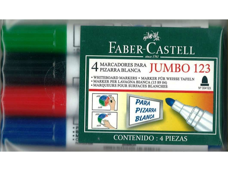 Faber-Castell Bullet Tip Whiteboard Markers 4 Pack