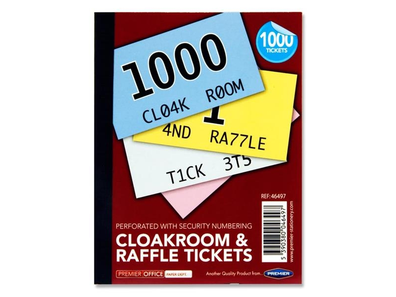 Cloakroom Tickets Assorted Colours 1-1000