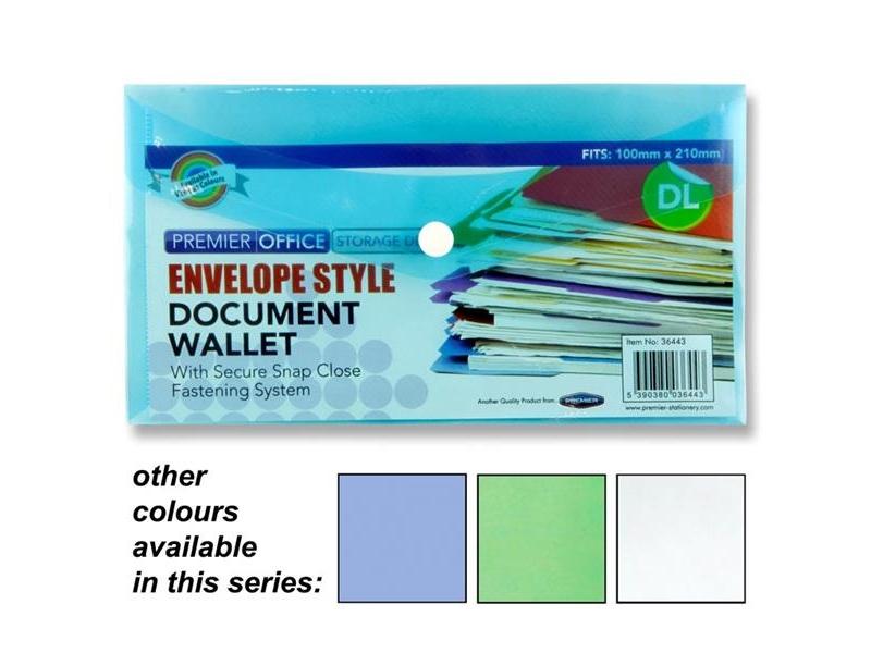 Envelope Style DL Document Wallet / Folder - Assorted Colours