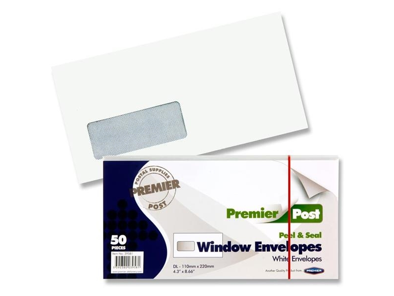 DL Envelope White Window 50 Pack 110mmx220mm