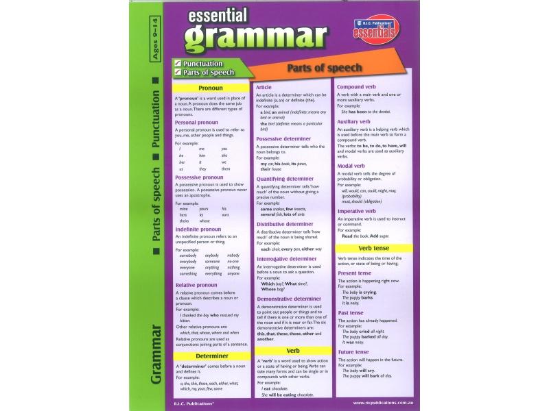 Essential Grammar Glance Card-Ages 9-14