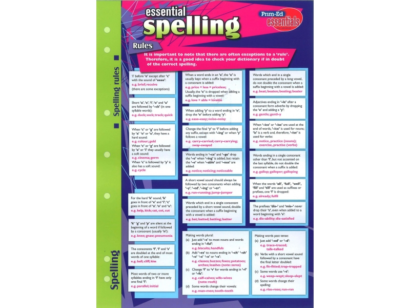 Essential Study Guide English Spelling