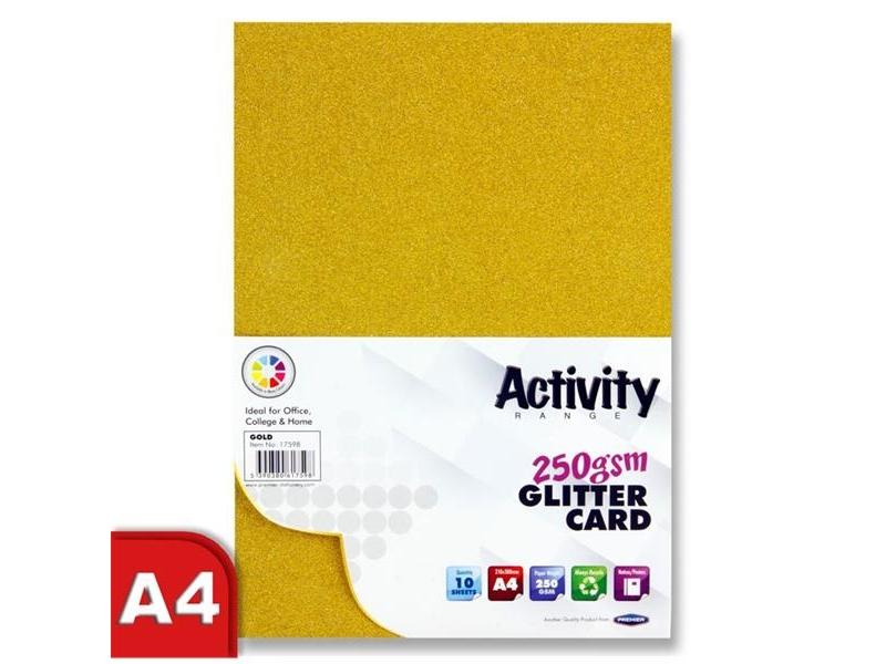 Glitter Card Gold A4 Pack 10 - 250gsm