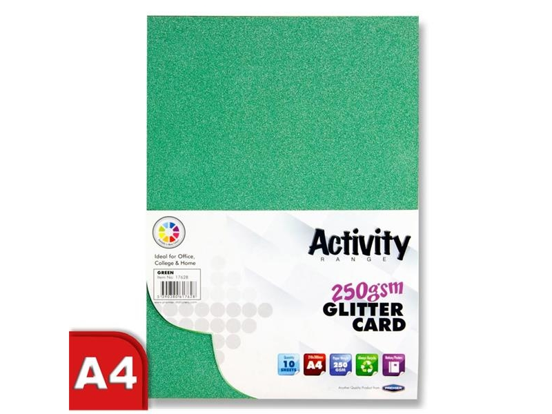 Glitter Card Green A4 Pack 10 - 250gsm