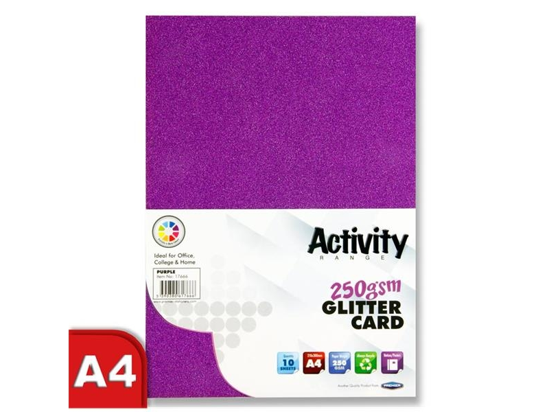 Glitter Card Purple A4 Pack 10 - 250gsm