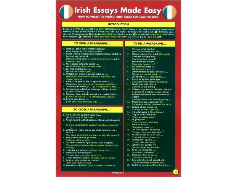 Irish Essays Made Easy! Glance card